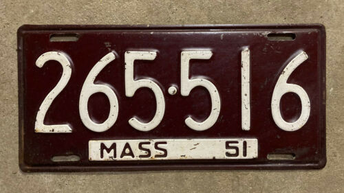 Massachusetts 1951 license plate 265516 RMV clear YOM Ford Chevy 1952