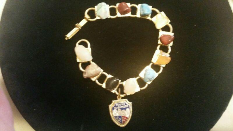 Vintage Mount Rushmore Souvenir Travel Natural stone Bracelet enamel pendant