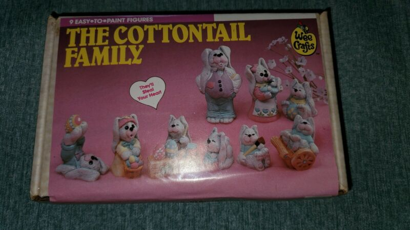 Wee Crafts Cottontail Family Paint 9 Gypsum Figures Rabbit Bunnies Easter #21123
