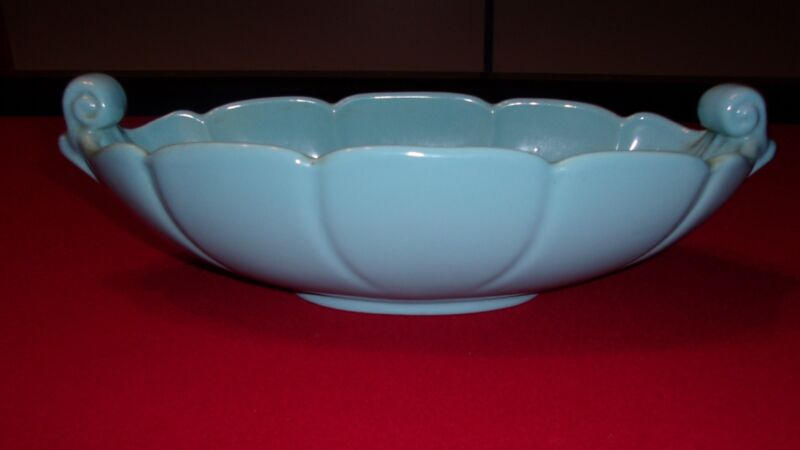 Vintage Abingdon Pottery Blue Console Bowl with Fern Leaf Design #532
