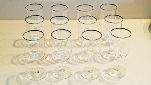 "12 Lenox Crystal Desire Silver Platinum Band Rim 6 1/4"" Wine Goblets Glasses"