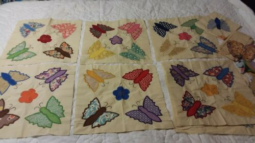 True 1930s Lot of 6 Complete Hand Appliqued Butterfly Quilt Blocks + 5 Partials
