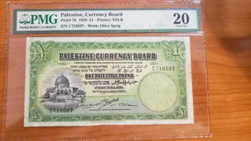 Palestine 1 pound 1929 banknote pmg Grade 20 Israel 7b rare Arab islamic