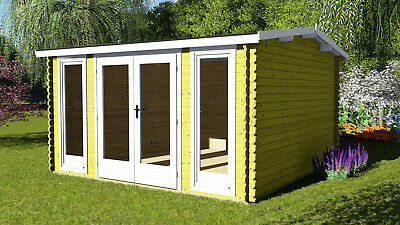 3.9mx3m/40mm Log Cabin Home Office, Free shingles and floor boards