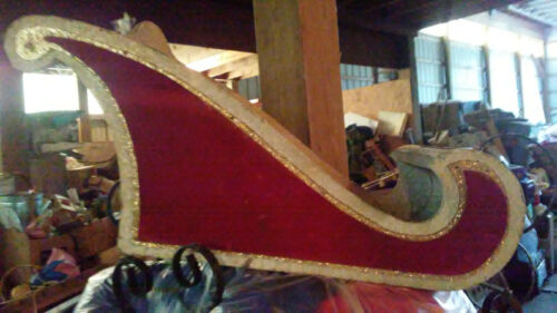 Red sparkle sled holiday chirstmas sleigh with tracks homemade