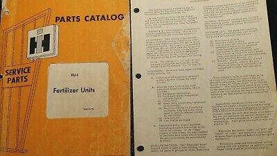 International Harvester Original Factory Parts Manual For Fertilizer Units Fu1