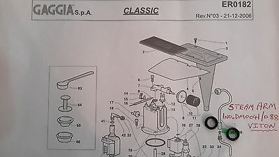 Gaggia Classic -2x Steam Arm/Wand Gasket, O Ring, Upgraded to Viton, DM0041/088