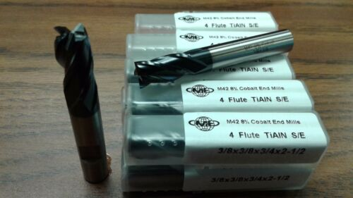 "10pcs 3/8"" 4 Flute M42 8% coablt HSS end mills,Tialn coated  #1009-COT-38-New"