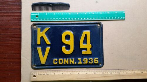 License Plate, Connecticut, 1936, KV  94