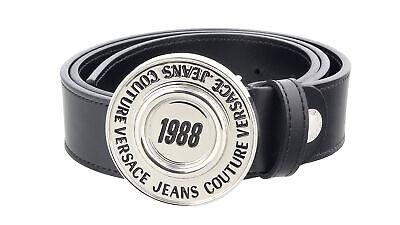 Versace Jeans Couture Black/Silver  Adjustable Round Buckle Logo Leather Belt