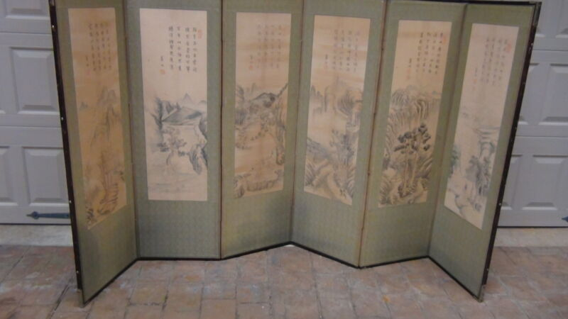 ANTIQUE  KOREAN 6 PANEL PAINTED LANDSCAPE SCREEN WITH 5 ROWS OF CALIGRAPHY