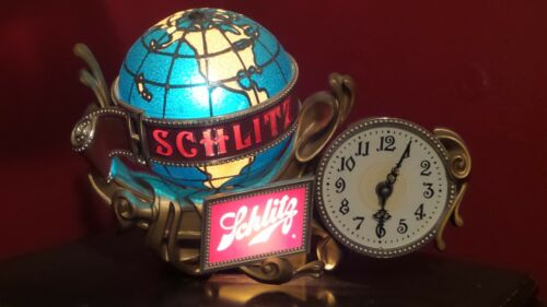 Original Vintage Schlitz Spinning Light-Up Globe Clock ~NO RESERVE~