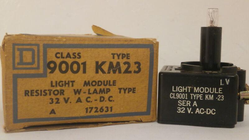 SQUARE D LIGHT MODULE RESISTOR W/LAMP 9001 KM23 *NEW SURPLUS IN BOX*