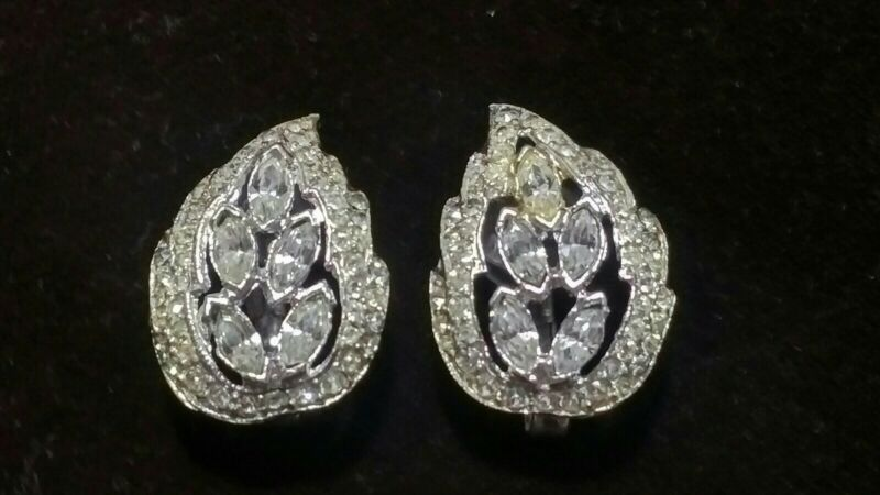 vintage Coro rhodium plated sterling silver rhinestone clip on wing earrings