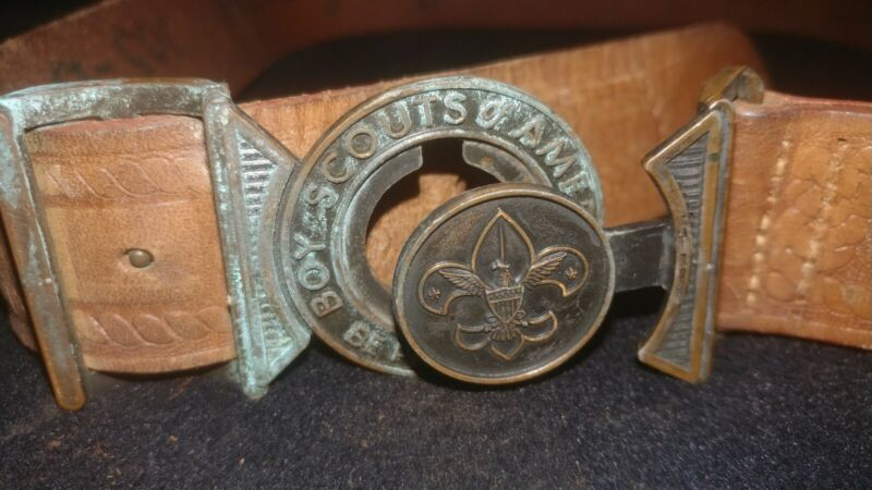 Vintage Boy Scouts Of America Be Prepared Belt With Buckle