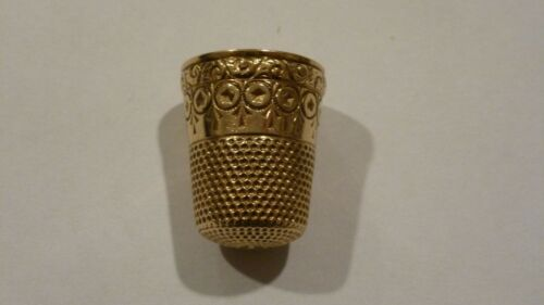 ANTIQUE THIMBLE 10K SOLID YELLOW GOLD FLORAL