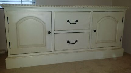 White solid timber french provincial entertainment cabinet Putney Ryde Area Preview