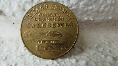 Vintage lucky coin thrill stunt show in US B. Ward Beam auto daredevils 1923-50