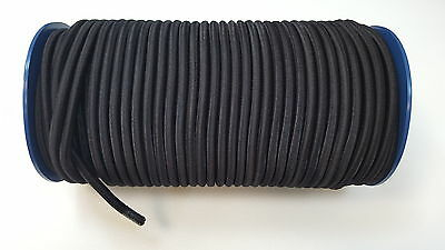 8mm x 10 Meters Black Elastic Bungee Rope Shock Cord Tie Down Boats Trailers