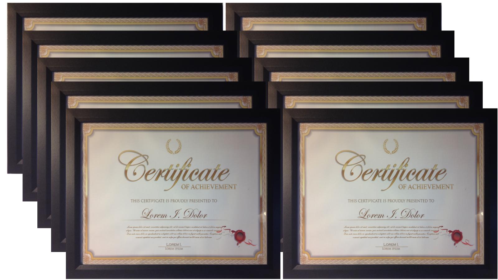 Frame Amo 8.5x11 Black Wood Certificate Frames, Glass Front,