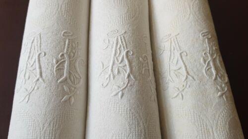 12  Antique French pure flax Linen DAMASK hand embroidered napkins  monogram AL