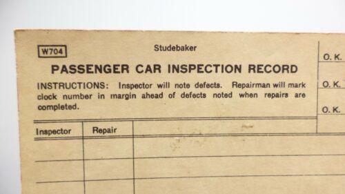 Studebaker Factories PASSENGER CAR INSPECTION RECORD Factory Form Automobilia
