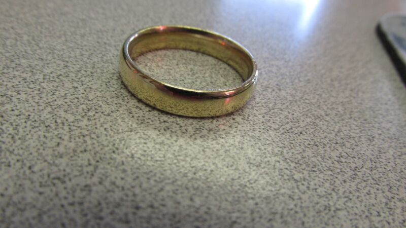Mens 14k Gold Wedding Ring Band  5mm Wide  Size 11.25