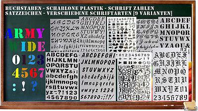 Buchstaben - Schablone Plastik - Schrift Zahlen Satzzeichen - vers. Schriftarten ()