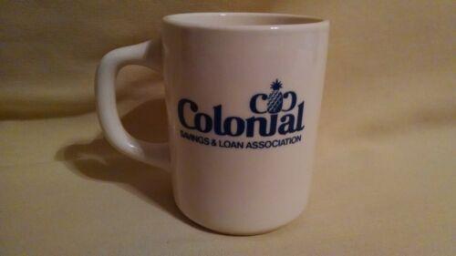 COLONIAL SAVINGS LOAN MUG PINEAPPLE GRAPHIC COFFEE TEA CUP USA WHITE BLUE BANK*