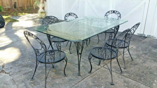 PICK UP ONLY: Patio Dining Table Vintage Wrought Iron Glass Woodard Black