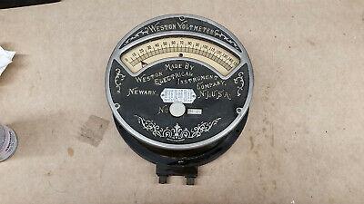 Vintage Weston Voltmeter Huge 8.5 Wall Mount Lab Machine Steampunk Scrollwork