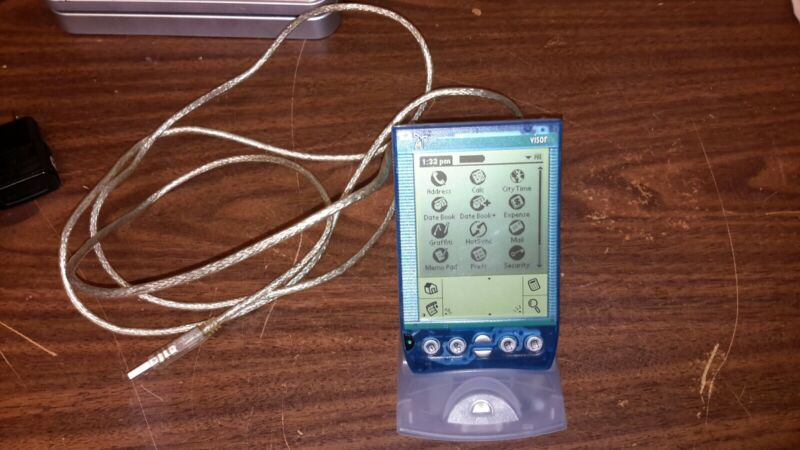 Handspring Visor Deluxe Translucent Blue PDA Organizer Palm + HotSync Cradle