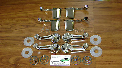 Door Handles + Window Cranks 20pc Set Chrome 61-64 Chevy w/ washers + springs