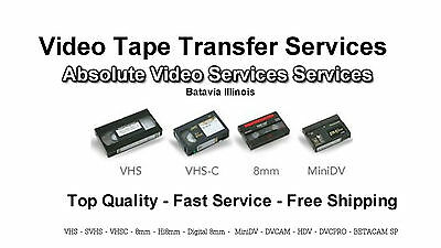 Video Tape Transfer Service to DVD VHS 8MM MiniDV 5 Tape Package Special