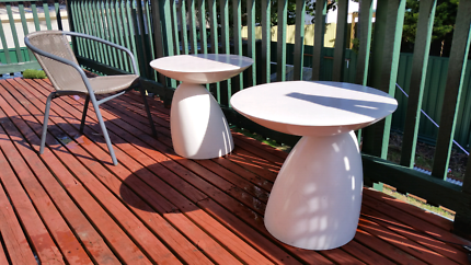 Funky white tables for indoor/outdoor use. $30 each ONO.
