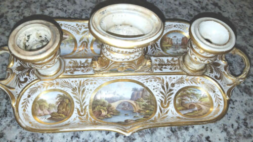 Antique French Porcelain Ink-Well Gold Leaf 19th Century RARE Stamped