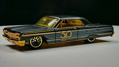 1964 Chevy Impala 1/64 Scale Diecast Diorama Rare Car Black 50 Anniversary
