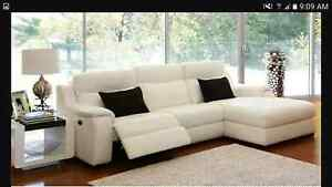 White Leather Lounge 3+2 Seater+Chaise  LONGMONT Newport Hobsons Bay Area Preview