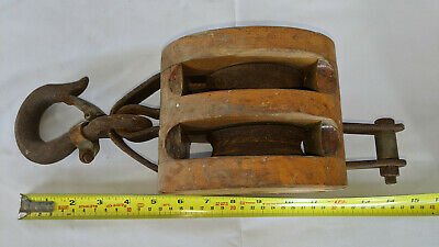 Vintage 3 Pulley Double Sheave Wood Shell Block For 58 And 34 Rope