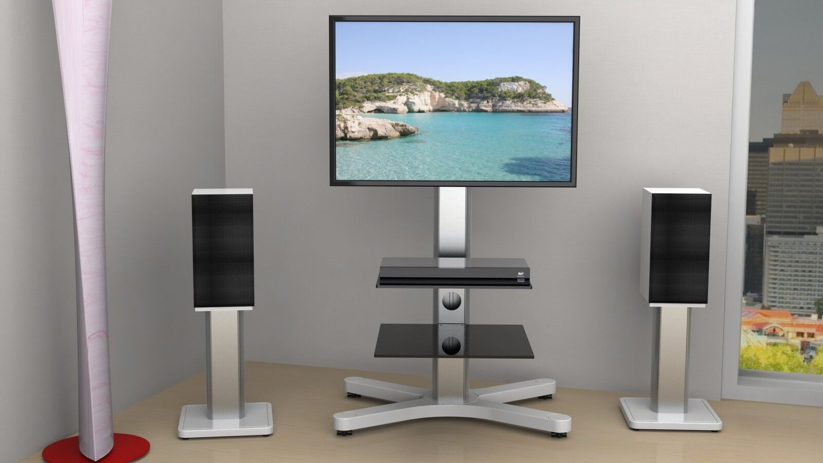 led lcd plasma tv st nder halter fu standfuss x tower. Black Bedroom Furniture Sets. Home Design Ideas
