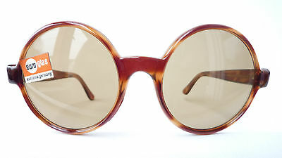 Unisex Sunglasses Horn-Look round Vintage 60s Real Glass Brown Echtenia SIZE L