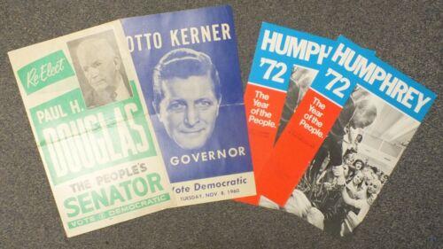 Lot of 4 Political Posters Humphrey 72 Otto Kerner Paul Douglas LG033