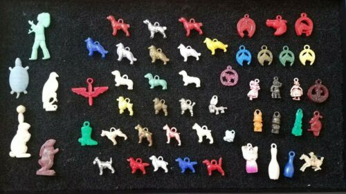 Vintage Cracker Jack Prize Charms Lot of 52 Dogs and Horses Colored Plastic