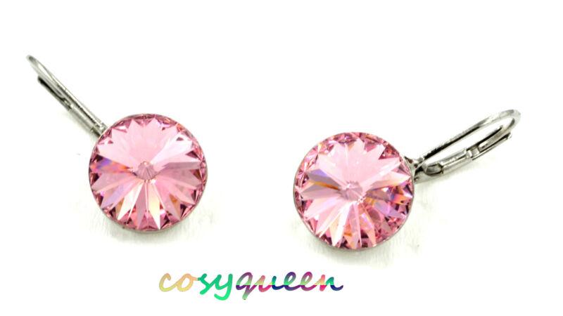 Swarovski Elements Crystal New Pink Rose Round Cut Huggie Earrings Women Gift