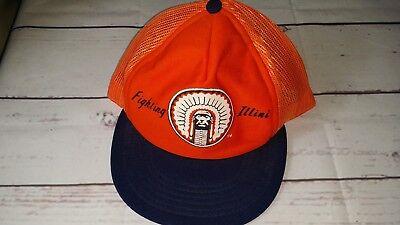 OOAK Vintage FIGHTING ILLINI Big Logo Snapback Hat Baseball Cap Illinois Chief