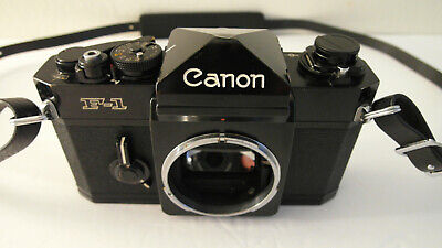 CLEAN FULLY WORKING BLACK CANON F1 F-1 35MM FILM STUDENT CAMERA BODY -USA SELLER