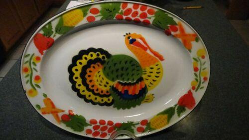 "Vintage Enamel Turkey Platter Vivid Colors approx. 17.5"" x 13"" Thanksgiving Fall"