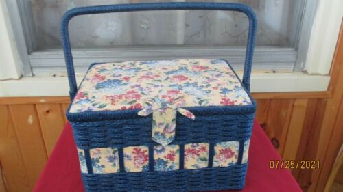 Vintage Sewing Basket, Navy, With Lilac Flower Print