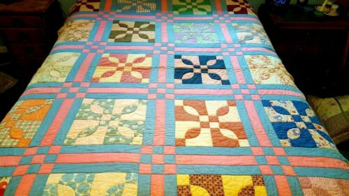 """Vintage Quilt 69"""" x 87"""" Patchwork HAND QUILTED Pastels Pinks Blues"""