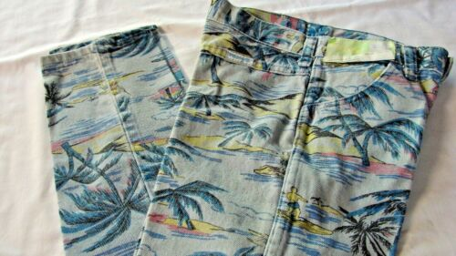 NOS VINTAGE WRANGLER JEANS WITH HAWAIIAN PALM TREES ISLAND PRINT size 7 slim